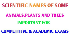 IMPORTANT SCIENTIFIC NAMES OF COMMON ANIMALS,TREES AND PLANTS-A COMPLETE LISTS FOR ACADEMIC AND COMPETITIVE EXAMINATIONS 2019||LATEST UPDATE