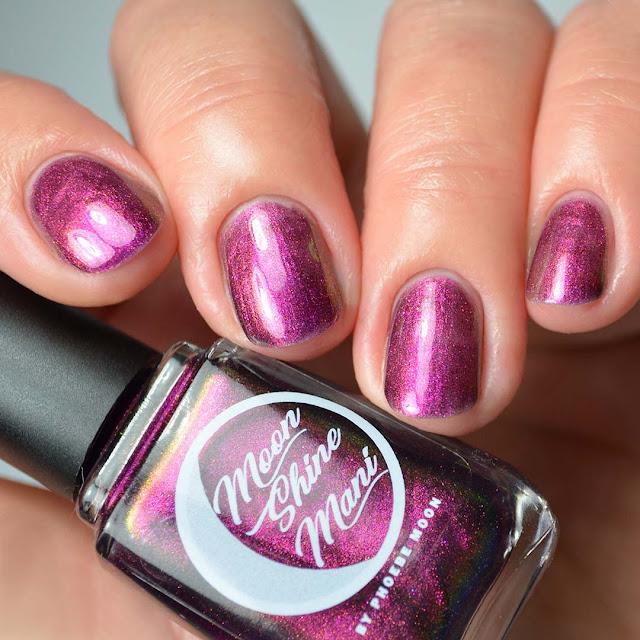 purple multichrome nail polish four finger swatch