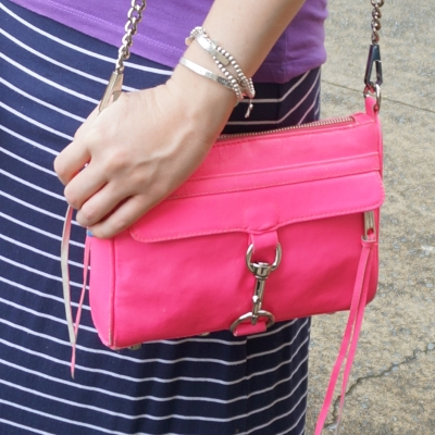 Rebecca Minkoff neon pink mini MAC, navy stripe maxi skirt | AwayFromTheBlue blog