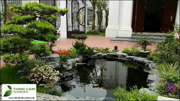 thiết kế hồ cá koi nhỏ đẹp, TungLam Garden, thi công hồ cá Koi
