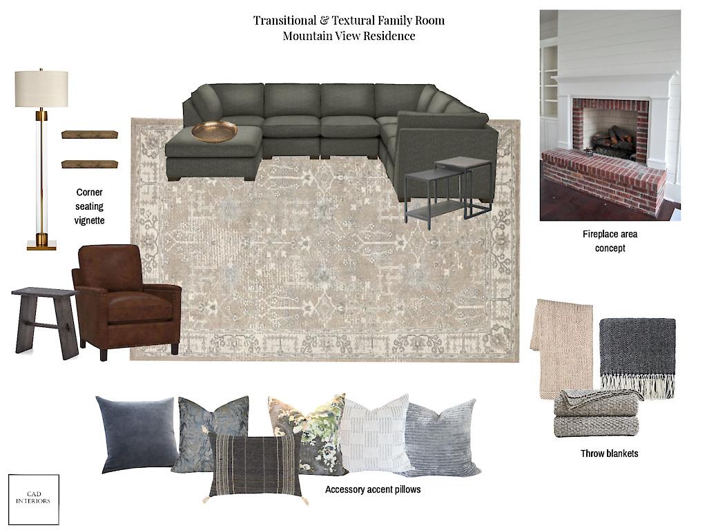 Professional online virtual interior e-design textural transitional living room