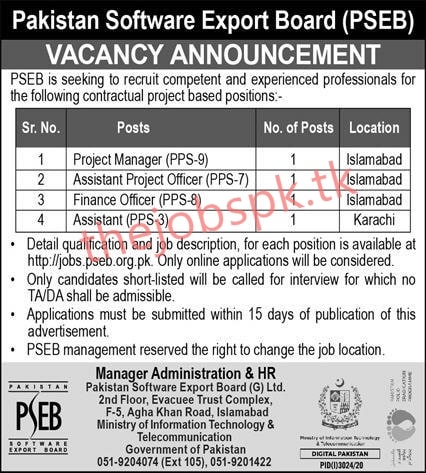 Pakistan Software Export Board PSEB Jobs 2020 Latest Apply Online