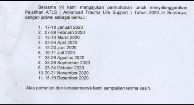 Jadwal ATLS Tahun 2020 Lokasi Surabaya