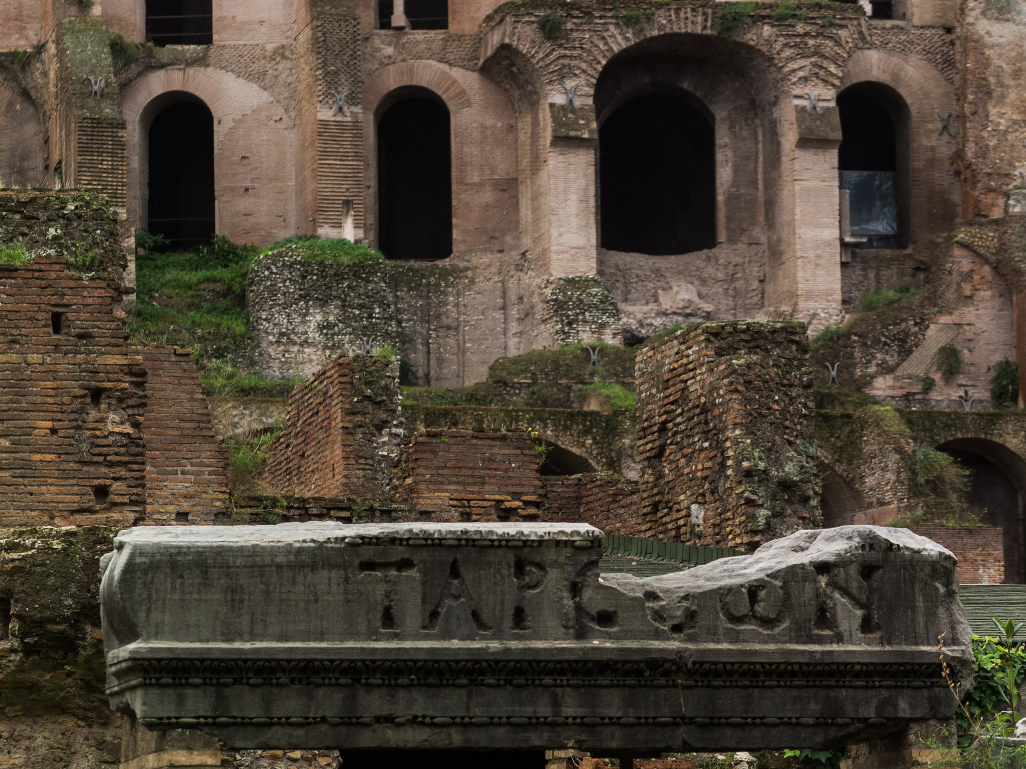 Close up of Domus Tiberiana ruins on Palatine Hill with letters engraved in stone in the foreground.