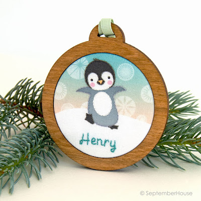 personalized holiday ornaments penguin design handmade by SeptemberHouse