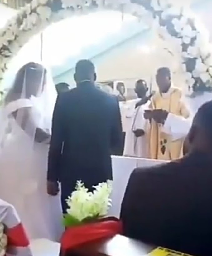 Watch: Woman disrupts wedding in Catholic church; claims groom is her husband and they slept together only hours earlier