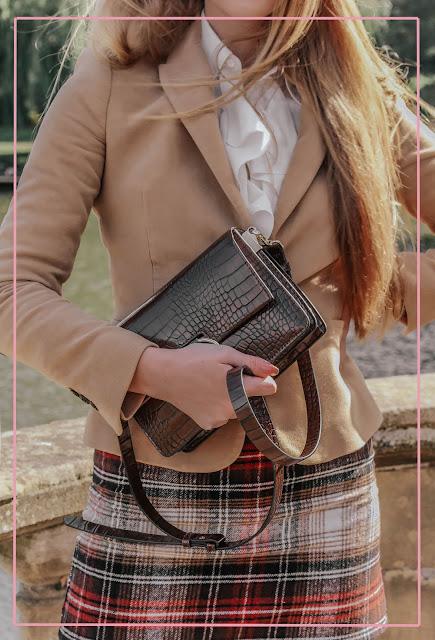 Zara brown croc embossed crossbody bag
