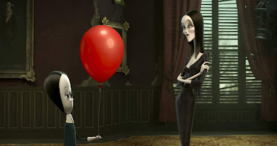 """The Addams Family"" (2019) movie scene where Wednesday (Chloe Grace Moretz) shows Morticia (Charlize Theron) a red balloon"
