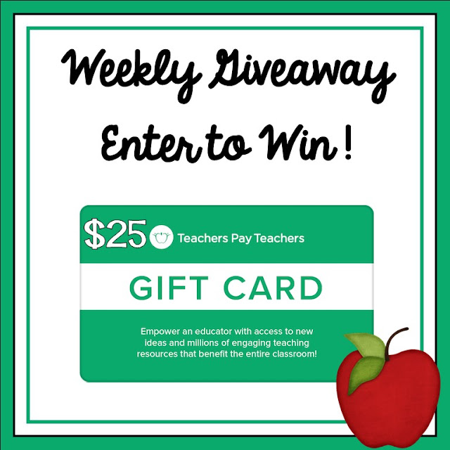 Weekly $25 Teachers pay Teachers Gift Card Giveaway
