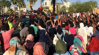 More than 50,000 people participated in the demonstration, demanding that they would not leave the area until President Omar al-Bashir resigned