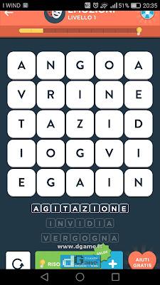 WordBrain 2 soluzioni: Categoria Emozioni (5X5) Livello 1