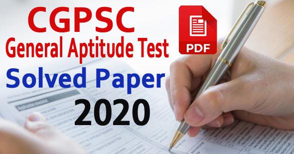 [PDF] CGPSC General Aptitude Test Solved Paper 2020 Download