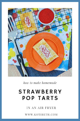 How to make homemade poptarts in an air fryer.  This easy recipe uses a premade pie crust for the dough and strawberry jam for the filling, so it's quick and easy to make.  I made strawberry diy pop tarts, but you can make different flavors. Add icing and sprinkles so it's just like a pop tart. These make a good home made breakfast or dessert ideas. They are like mini pies that you can make homemade easy recipes for your air fryer. #poptarts #pastry #airfryer