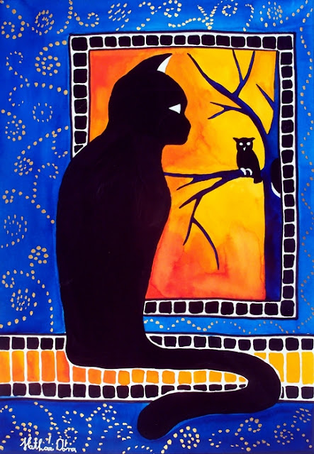 Insomnia cat painting about a black cat staring out of the window to an owl.