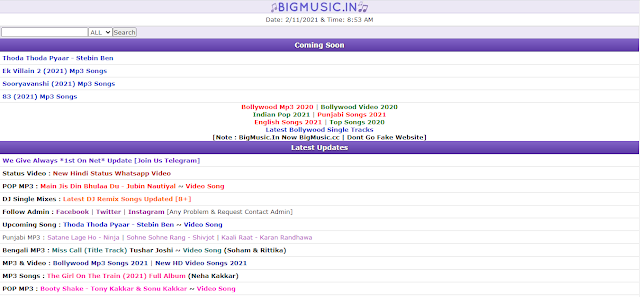 Bigmusic.In/cc Disclaimer, Contact Us & Footer Code For Your Wapkiz Website