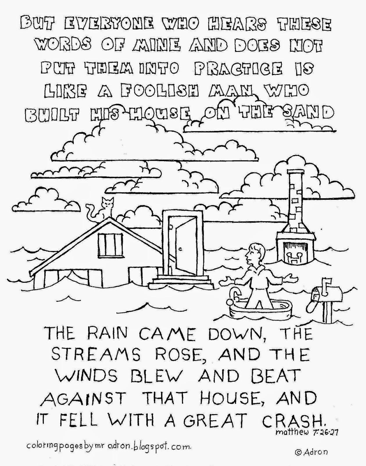 An illustration of Matthew 4:26 to print and color.