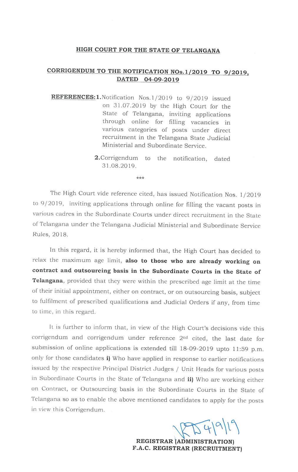 Telangana High Court Various Vacancies Exam Date Announced