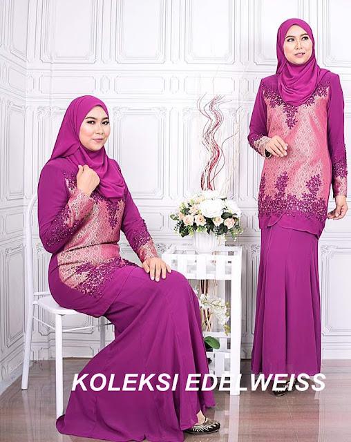 Baju Kurung Moden Songket Koleksi Raya 2017  Warna Purple