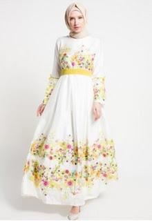 Dress muslim motif bunga yang trendy