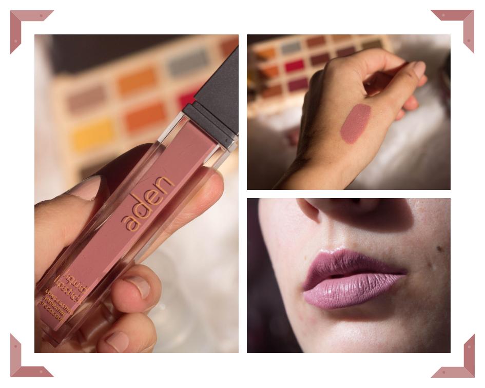 """Liquid Lipstick / 05 Shell (7ml) — 7,50 €    Os batons líquidos da Aden foram os primeiros produtos que conheci da marca. Existem 31 cores distintas, com acabamentos matte e outros """"ligeiramente perolizados"""" (assim são descritos no site). O único que tenho é o 05 Shell, um rosa nude/velho muito bonito. De textura leve, líquida e acabamento matte, é confortável nos lábios e tem uma ótima duração.    A pigmentação é total com apenas uma passagem, e a embalagem tem o meu género de aplicador favorito (facilita muito a aplicação).  Depois de seco não transfere. Ao longo do dia acaba por desvanecer um pouco (especialmente entre refeições, claro), mas nada de drástico (pessoalmente não me incomoda ter que retocar). Já li opiniões distintas consoante as cores (que existem diferenças na fórmula) mas, pessoalmente, gosto bastante do 05 Shell. Tem um aroma abaunilhado muito agradável!"""
