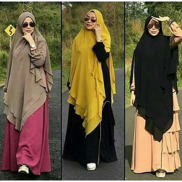 Jilbab Kerudung Khimar Jumbo Panjang 2 Layer BIG Terbaru