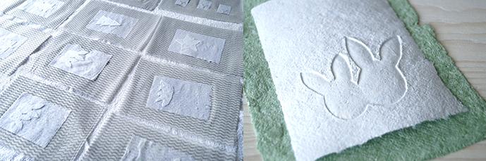 Ausgelegte Papier zum Trocknen und fertiges Osterhasenmotiv