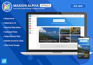 Modelo de Blogger de design de material premium Masign Alpha Style 2