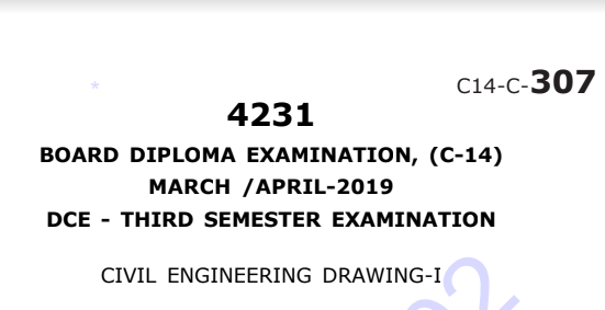 Sbtet Civil Engineering Drawing-1 Previous Question Paper c14 March/April 2019