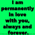 I am permanently in love with you, always and forever.