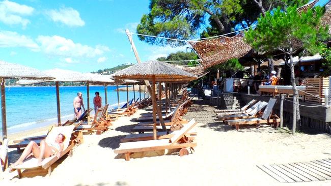 Skiathos island Vromolimnos beach.Skijatos ostrvo Vromolimnos plaza.