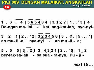 Lirik dan Not PKJ 9 Dengan Malaikat, Angkatlah