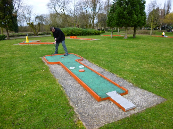 Crazy Golf in Tamworth's Castle Grounds, March 2015