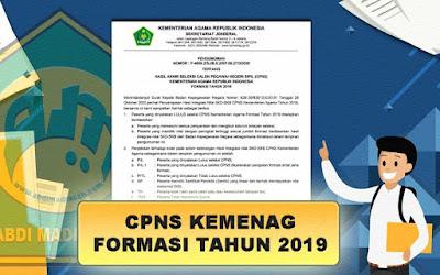 Pengumuman Hasil Akhir CPNS Kementerian Agama Formasi Tahun 2019