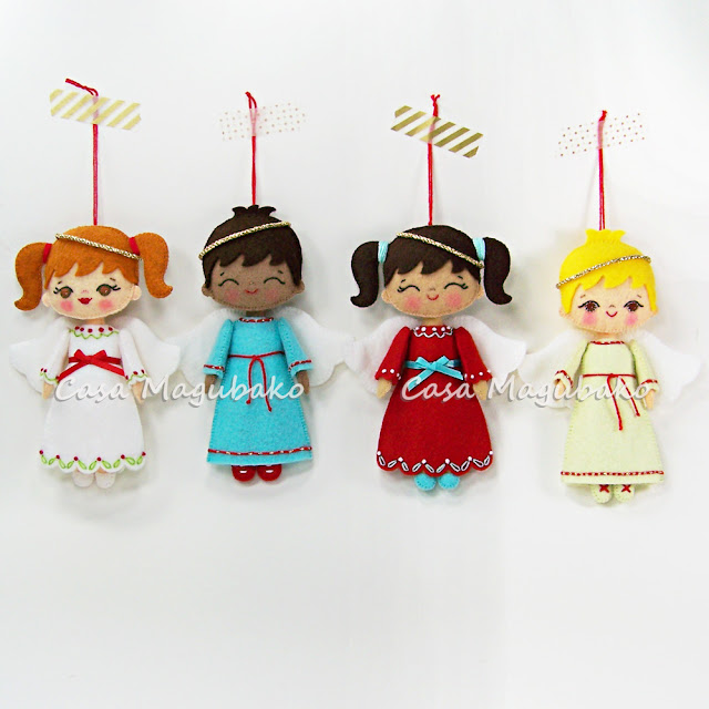 Felt Angel Ornaments by casamagubako.com