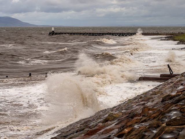 Photo of wild weather on the shore at Maryport in Cumbria, UK