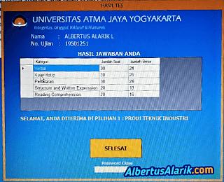 Hasil Tes Masuk Universitas Atma Jaya