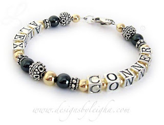 Hematite and Gold Multiple Name Mother Bracelets - Alex & Conner