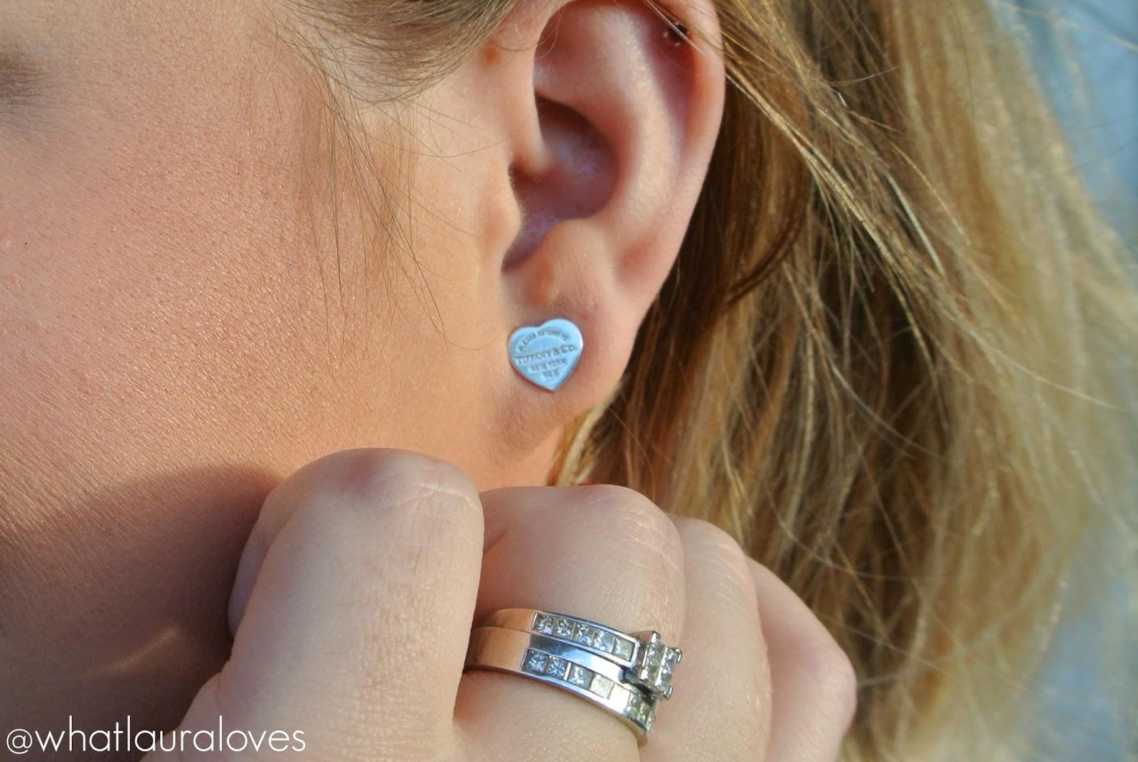 Tiffany Mini Heart Tag Earrings Size