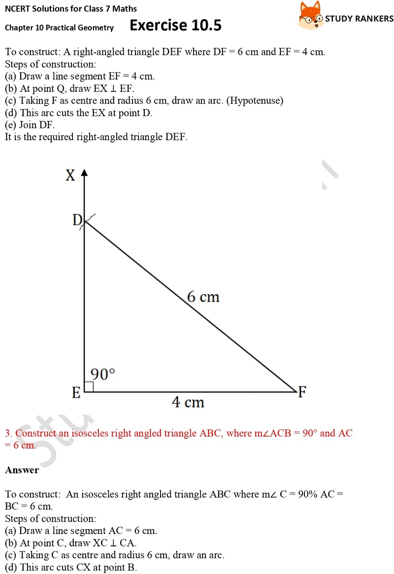 NCERT Solutions for Class 7 Maths Ch 10 Practical Geometry Exercise 10.5 2