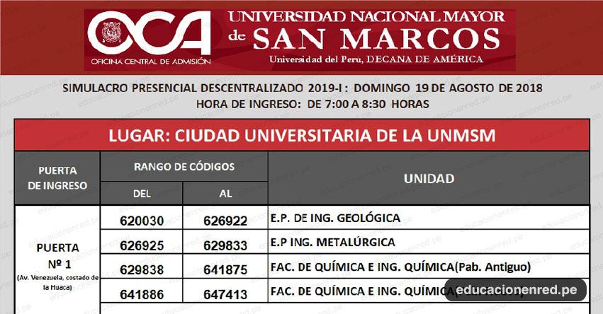 UNMSM: Locales Simulacro Examen Admisión 2019-1 (Domingo 19 Agosto) Postulante Ubica tu Aula - Universidad Nacional Mayor de San Marcos - www.unmsm.edu.pe