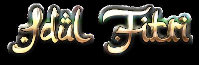 Teks Idul Fitri Efek 3D Emas PNG
