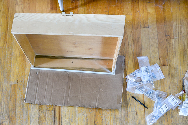 Tracing drawer onto cardboard for template