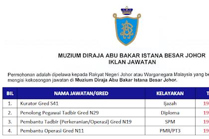 Jawatan Kosong Kerajaan di Muzium Diraja Abu Bakar Istana Besar Johor | Tarikh Tutup: 19 Disember 2019