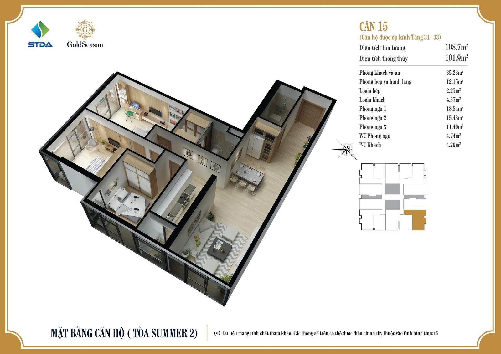 Mặt bằng căn hộ ốp kính 15 tầng 31-33 - GoldSeason