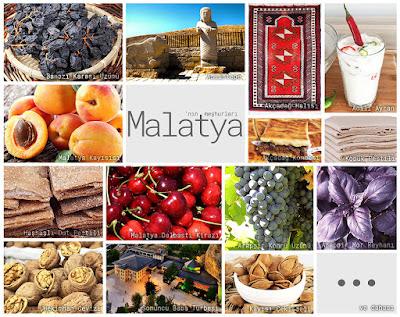 Malatya'nın meşhur şeylerini gösteren resimlerden oluşan kolaj