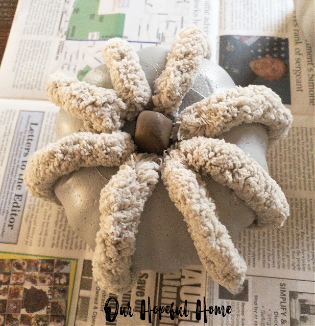 chunky yarn gray foam pumpkin