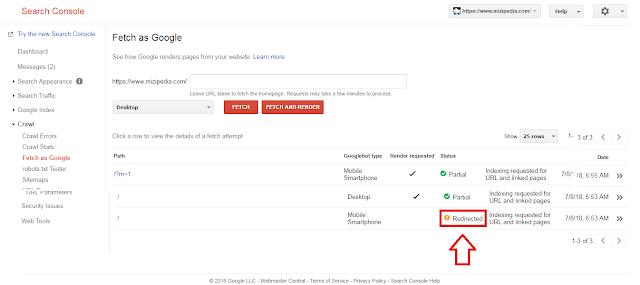 Bagaimana Cara Memperbaiki Status  Yang Dialihkan Atau Redrirect Pada Fetch As Google