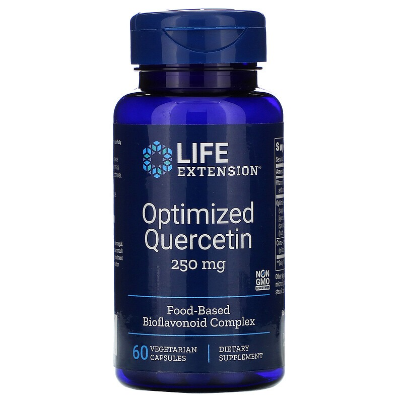 Life Extension, Кверцетин в оптимизированной форме, 250 мг, 60 вегетарианских капсул