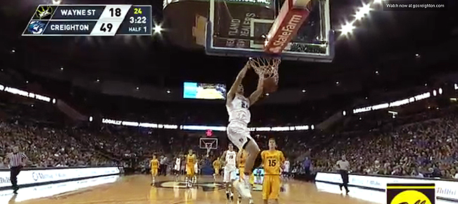 Creighton's Kobe Paras Steals for the Breakaway Slam Against Wayne State (VIDEO)