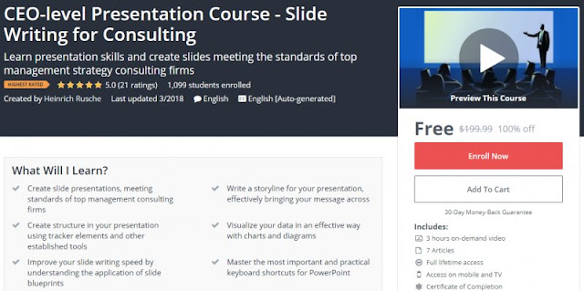 [100% Off] CEO-level Presentation Course - Slide Writing for Consulting| Worth 199,99$